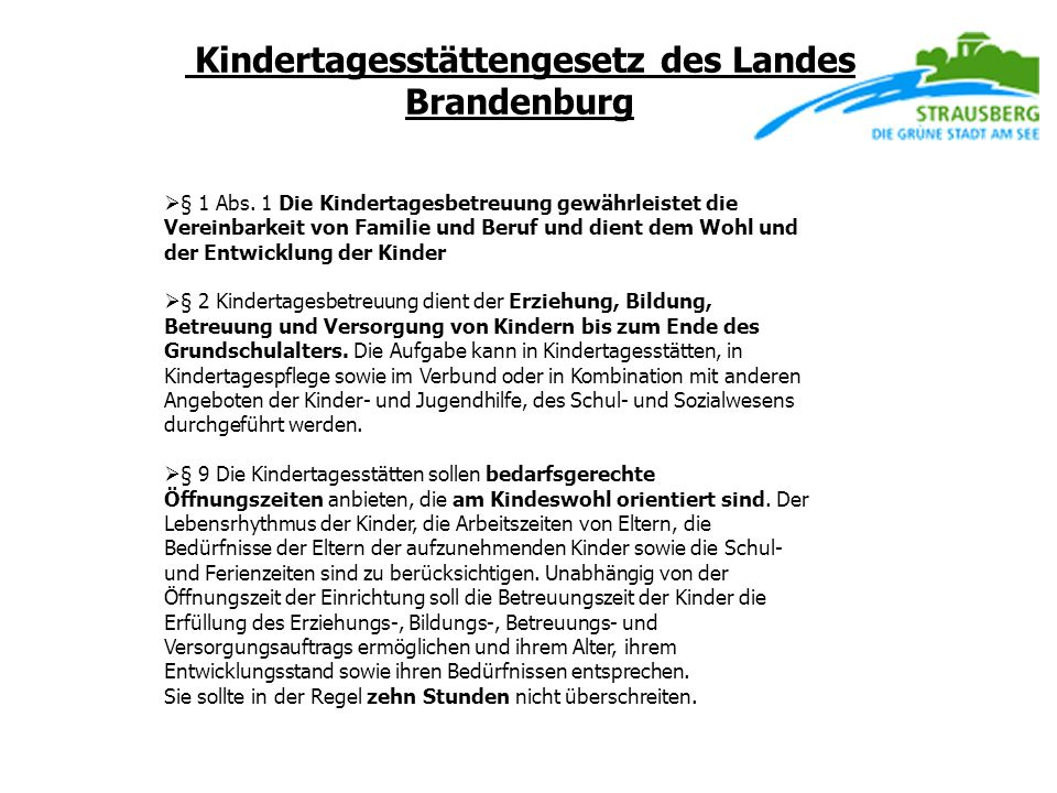 Kindertagesstättengesetz des Landes Brandenburg