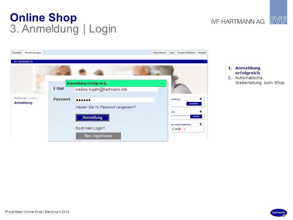 Online Shop 3. Anmeldung | Login Anmeldung erfolgreich