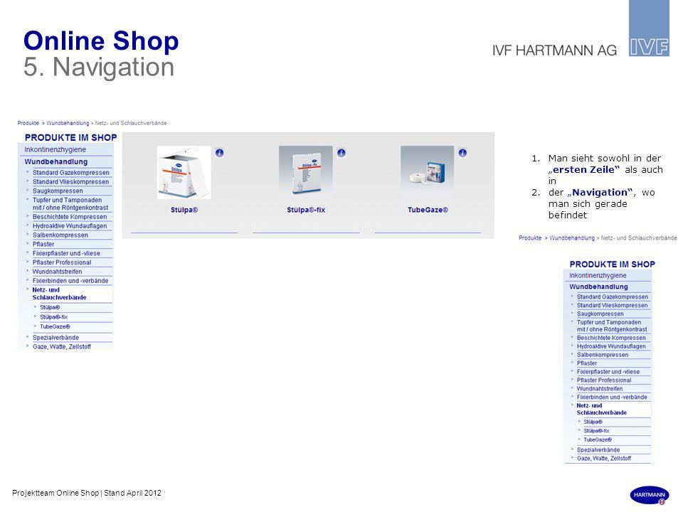Online Shop 5. Navigation