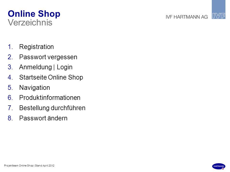 Online Shop Verzeichnis Registration Passwort vergessen