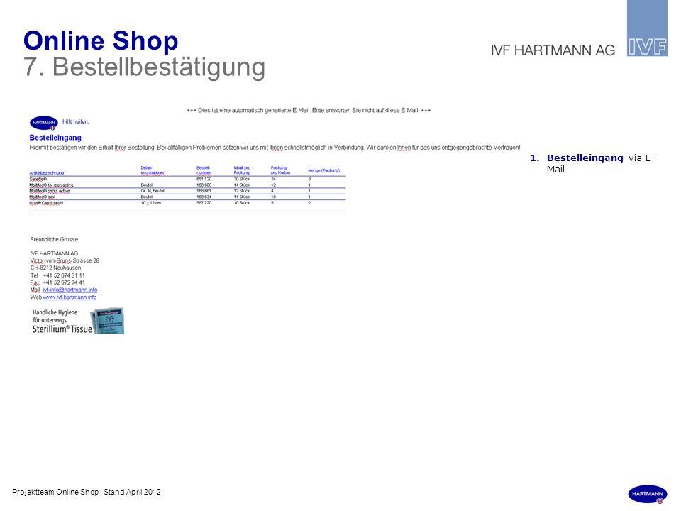 Online Shop 7. Bestellbestätigung Bestelleingang via E-Mail