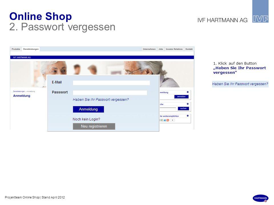 Online Shop 2. Passwort vergessen