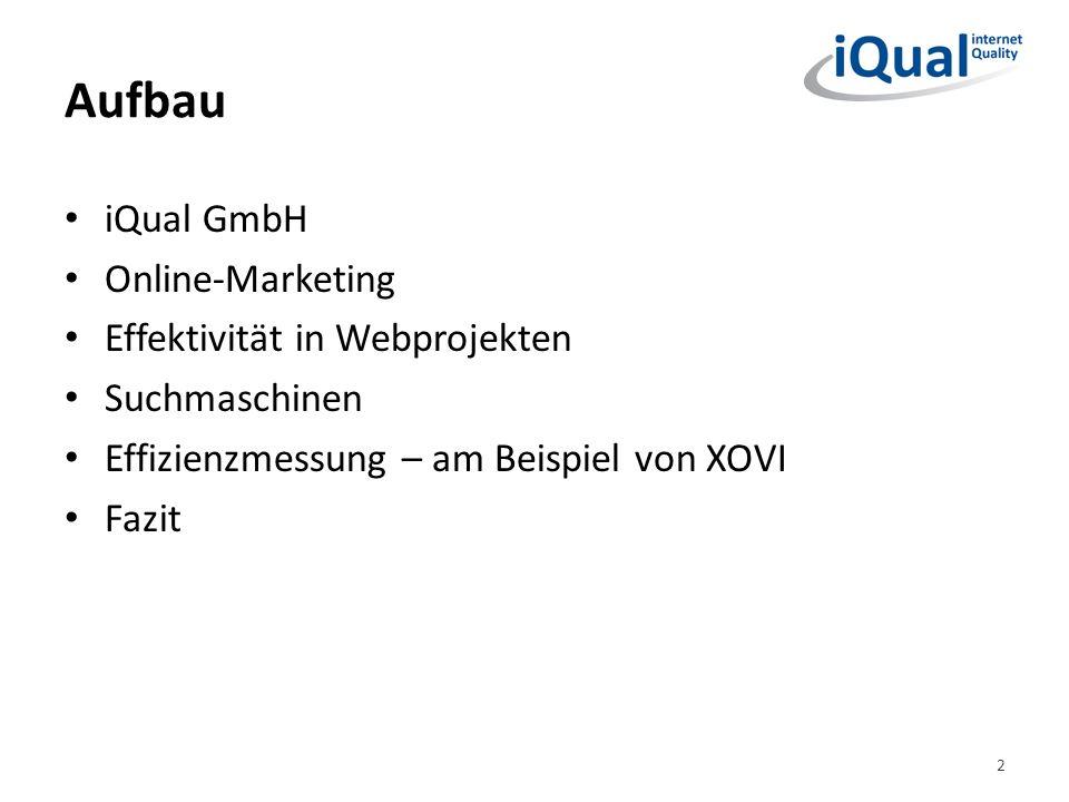 Aufbau iQual GmbH Online-Marketing Effektivität in Webprojekten