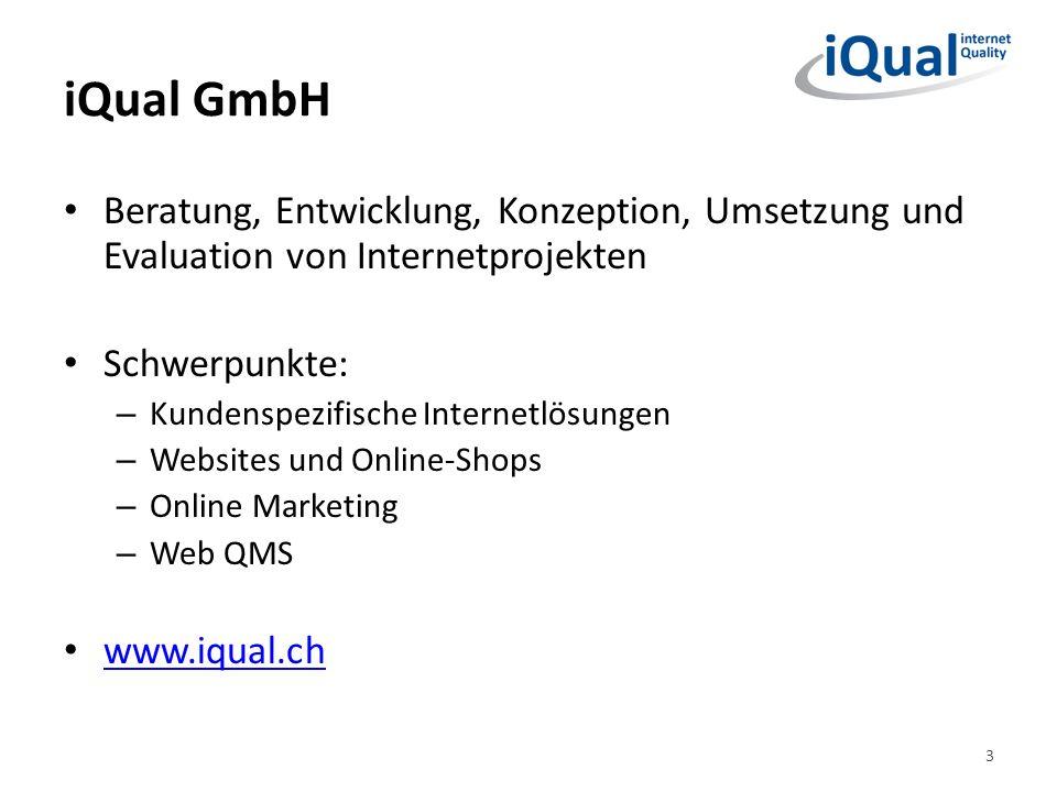 iQual GmbH Beratung, Entwicklung, Konzeption, Umsetzung und Evaluation von Internetprojekten. Schwerpunkte: