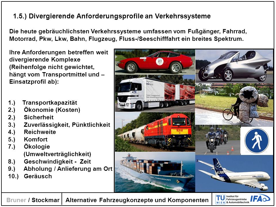 1.5.) Divergierende Anforderungsprofile an Verkehrssysteme