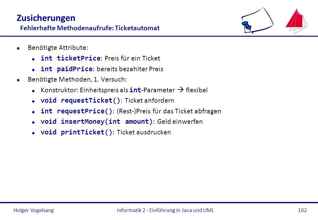 Zusicherungen Fehlerhafte Methodenaufrufe: Ticketautomat