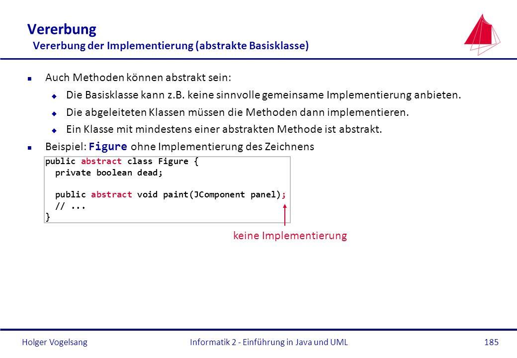 Vererbung Vererbung der Implementierung (abstrakte Basisklasse)