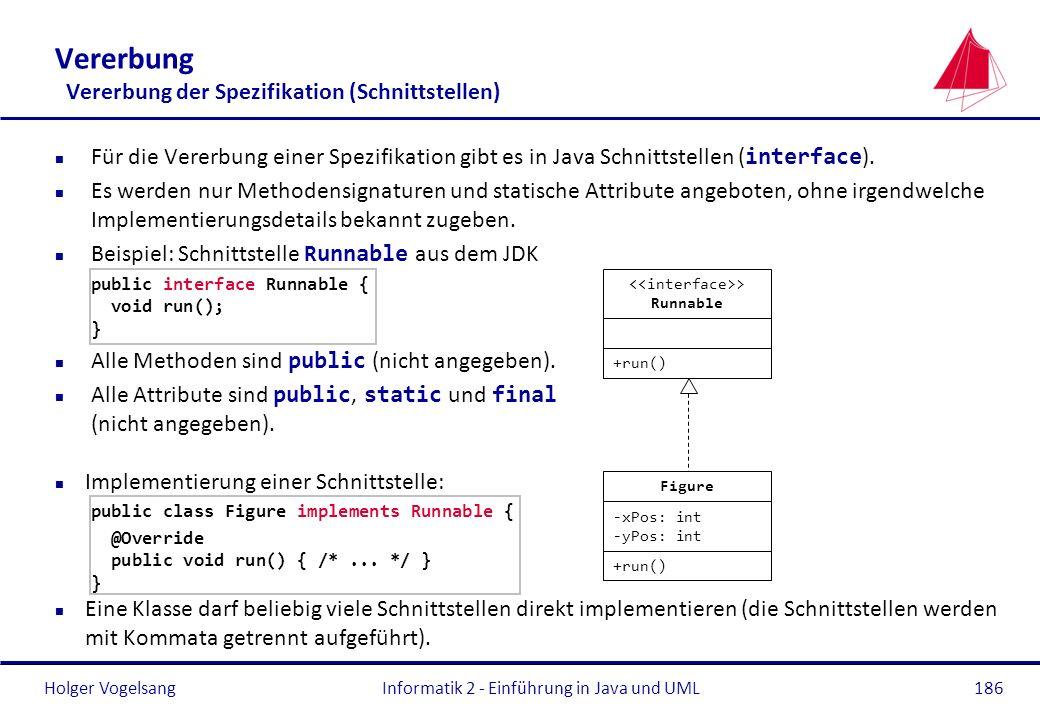 Vererbung Vererbung der Spezifikation (Schnittstellen)