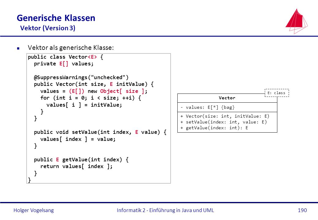 Generische Klassen Vektor (Version 3)