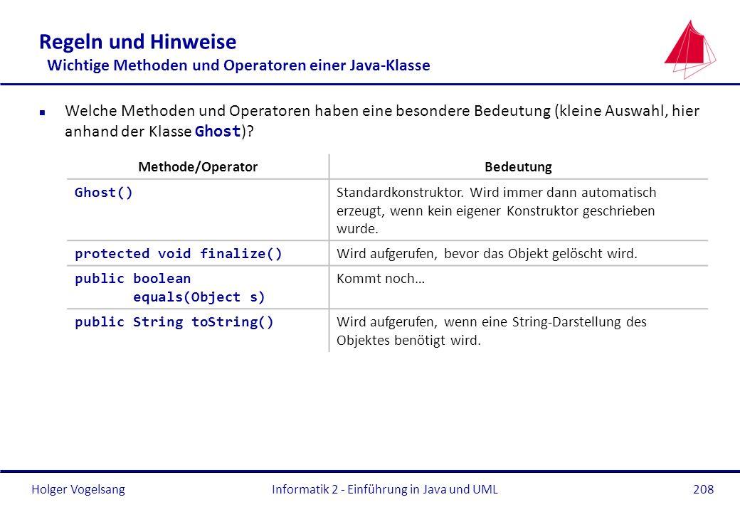 Regeln und Hinweise Wichtige Methoden und Operatoren einer Java-Klasse