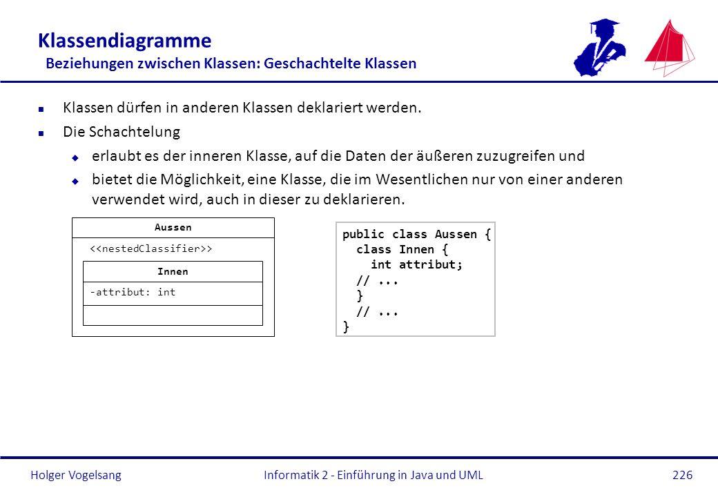 Klassendiagramme Beziehungen zwischen Klassen: Geschachtelte Klassen