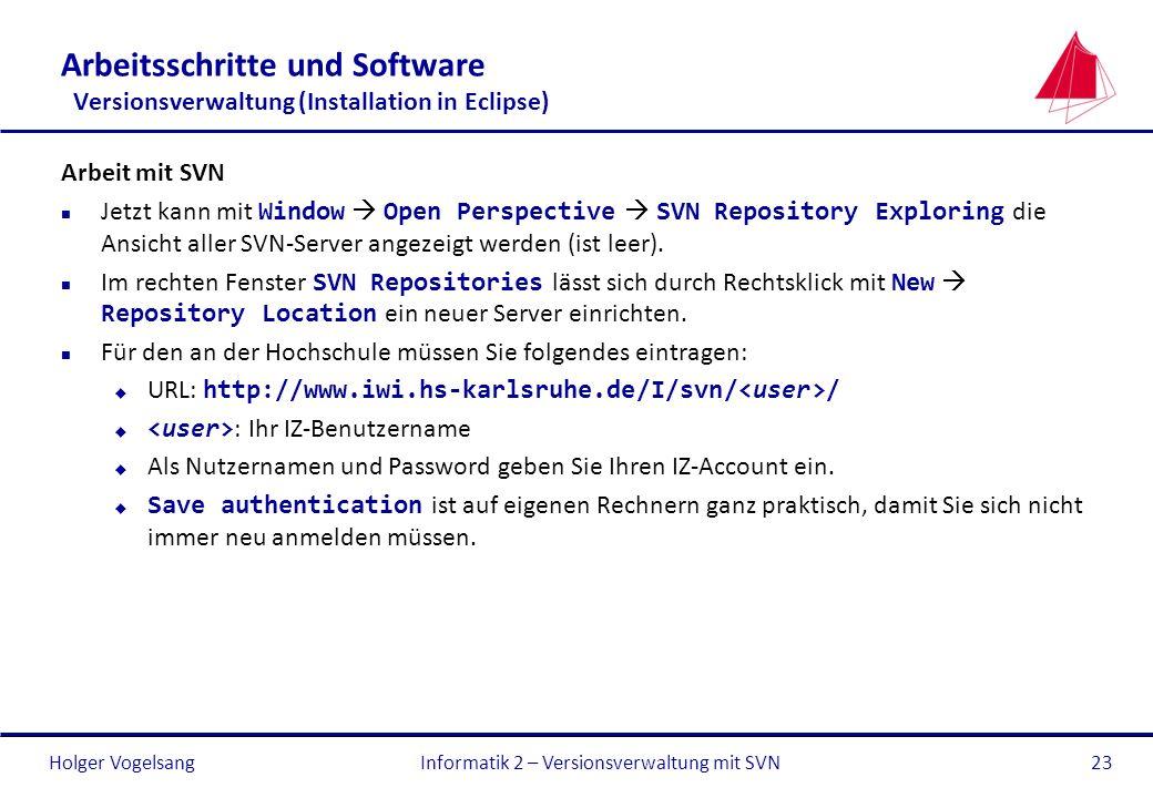 Informatik 2 – Versionsverwaltung mit SVN