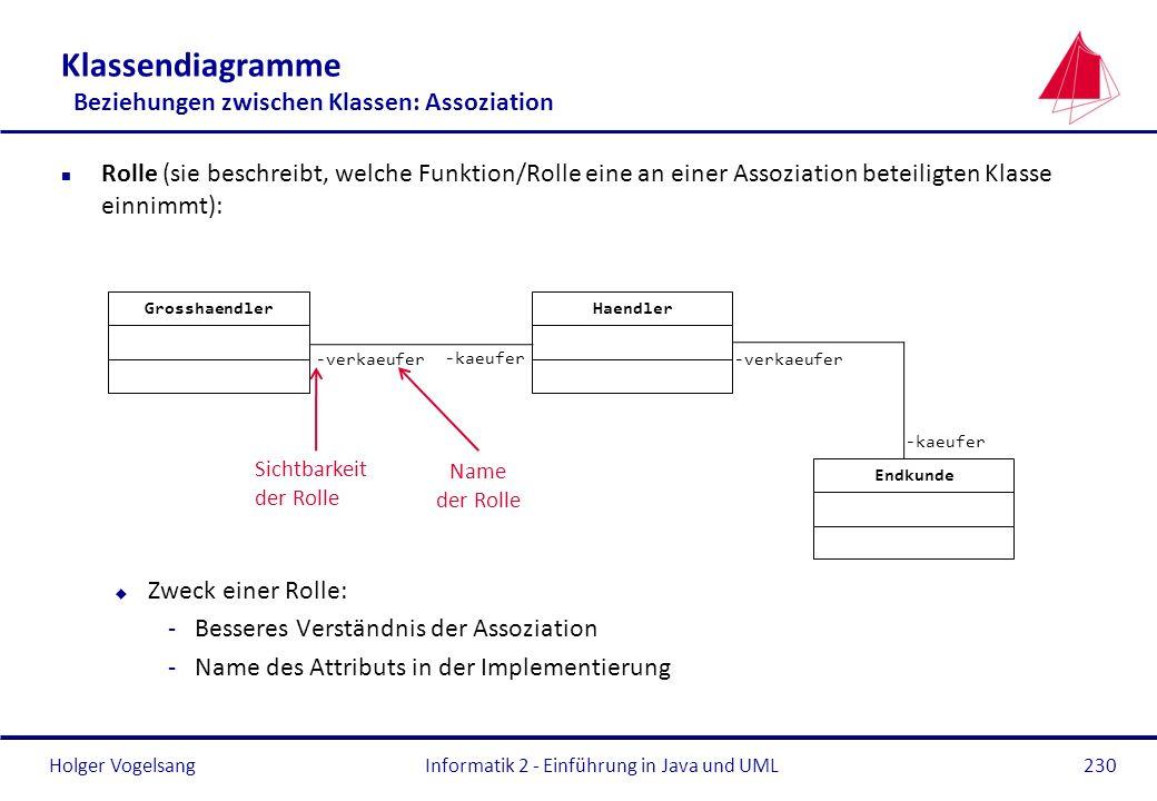 Klassendiagramme Beziehungen zwischen Klassen: Assoziation
