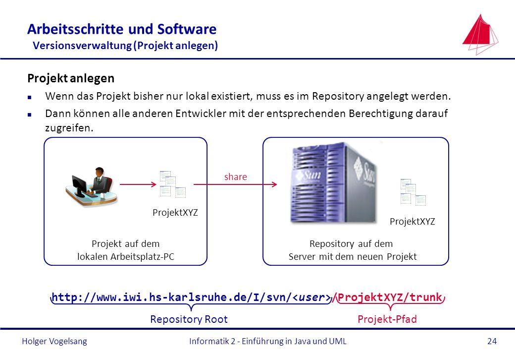 Arbeitsschritte und Software Versionsverwaltung (Projekt anlegen)