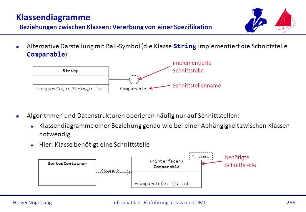 Klassendiagramme Beziehungen zwischen Klassen: Vererbung von einer Spezifikation