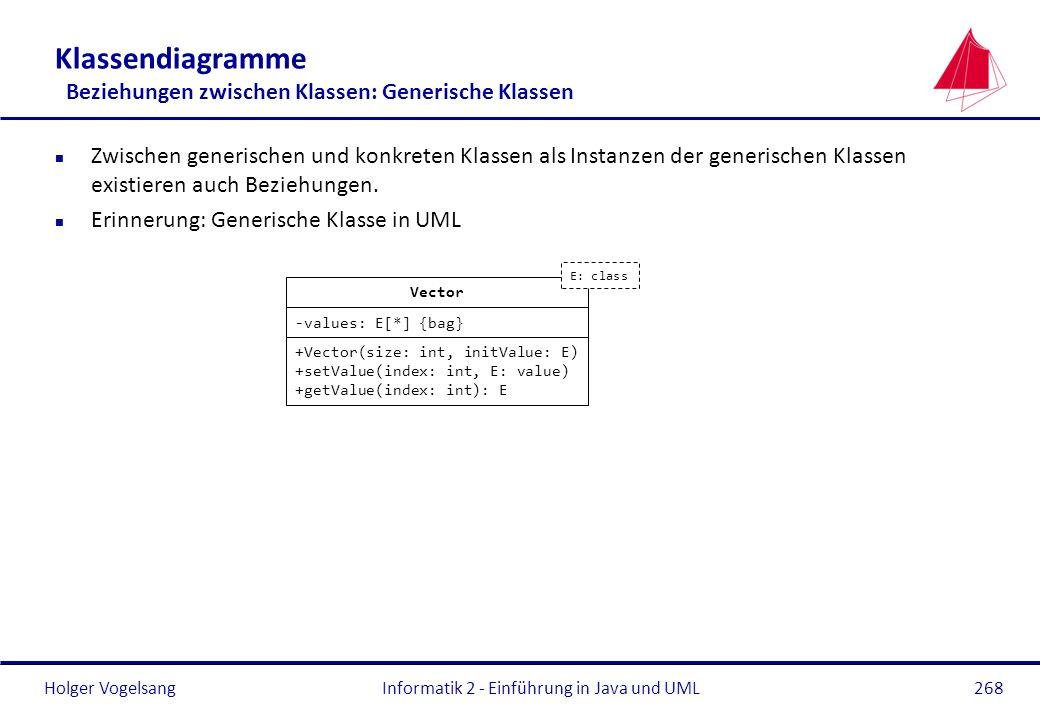 Klassendiagramme Beziehungen zwischen Klassen: Generische Klassen