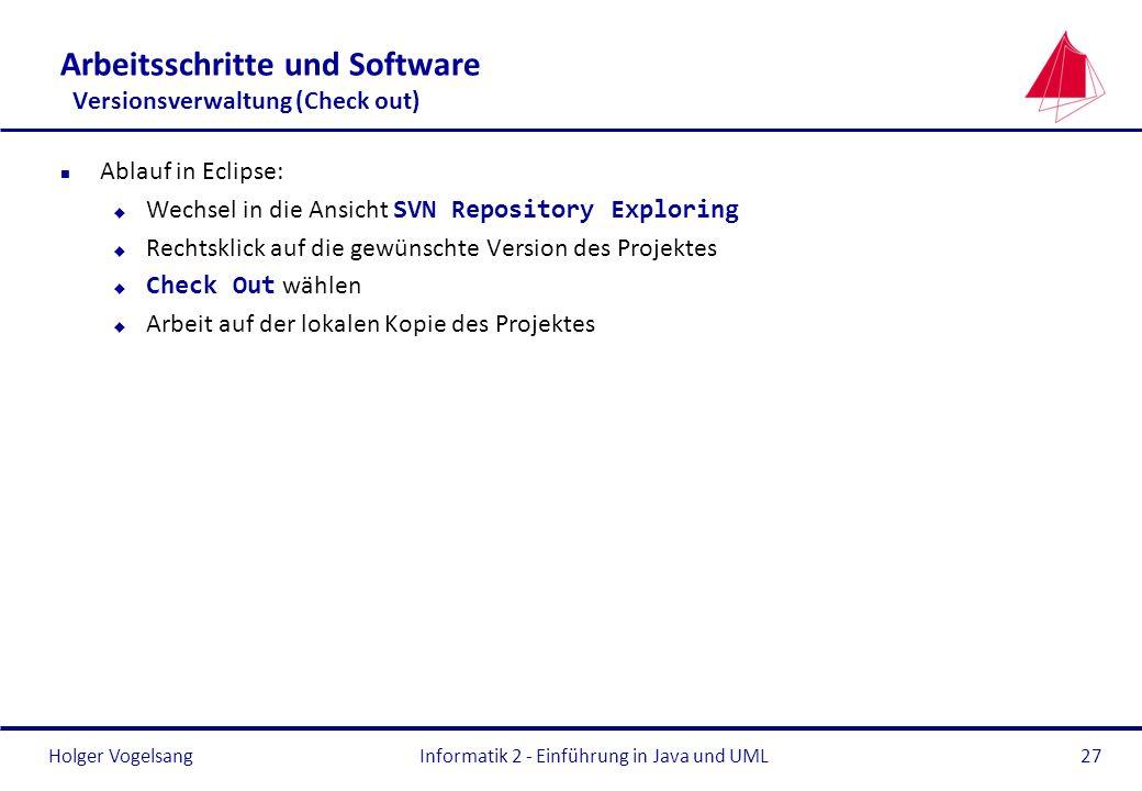 Arbeitsschritte und Software Versionsverwaltung (Check out)