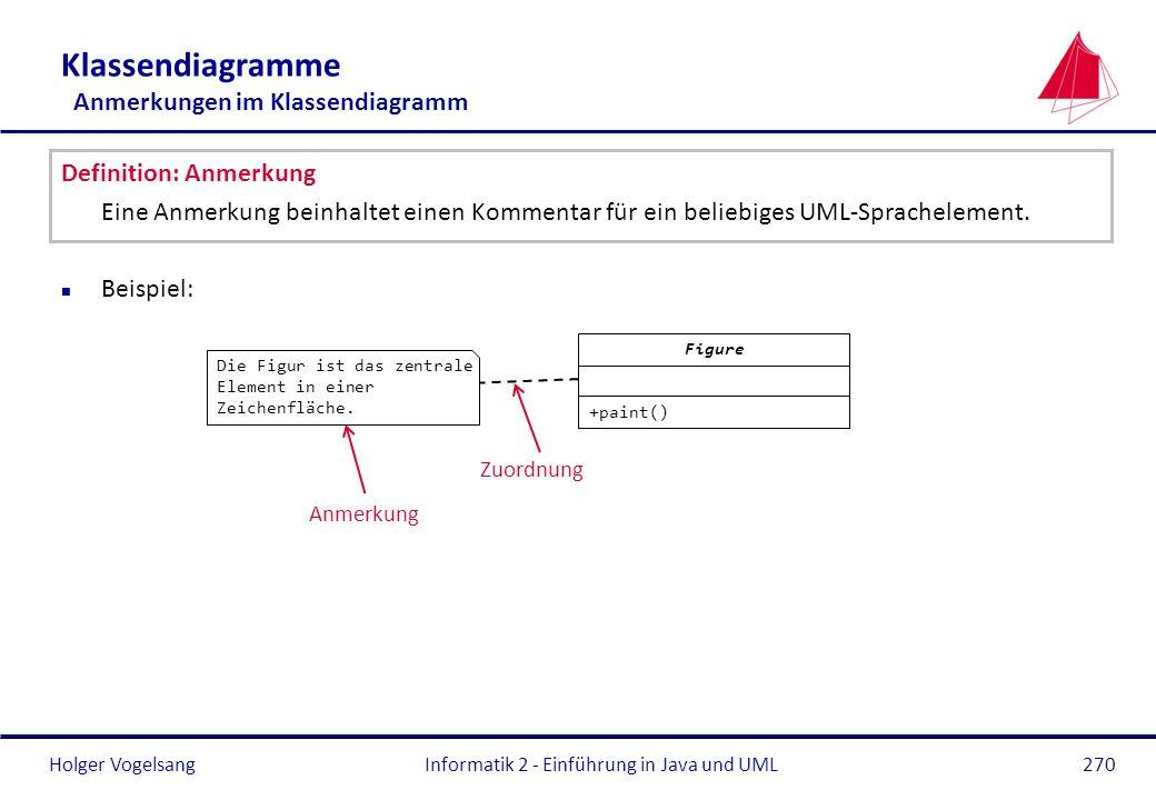 Klassendiagramme Anmerkungen im Klassendiagramm