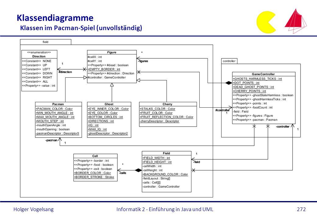 Klassendiagramme Klassen im Pacman-Spiel (unvollständig)