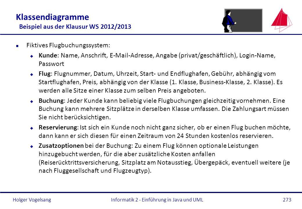 Klassendiagramme Beispiel aus der Klausur WS 2012/2013