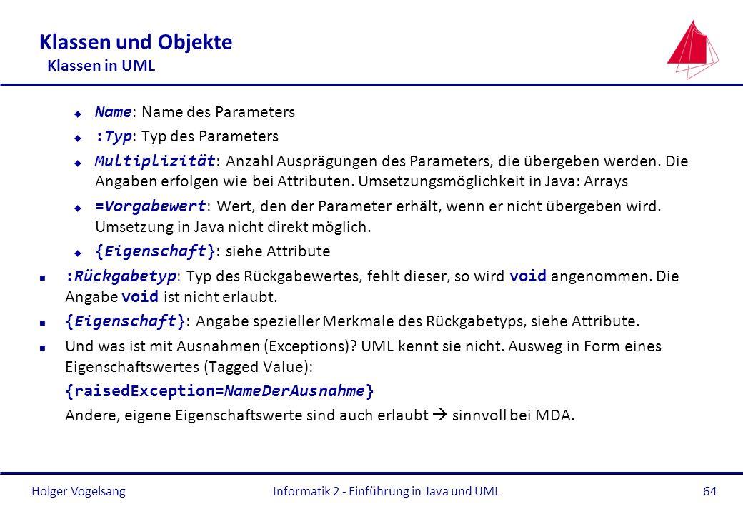 Klassen und Objekte Klassen in UML