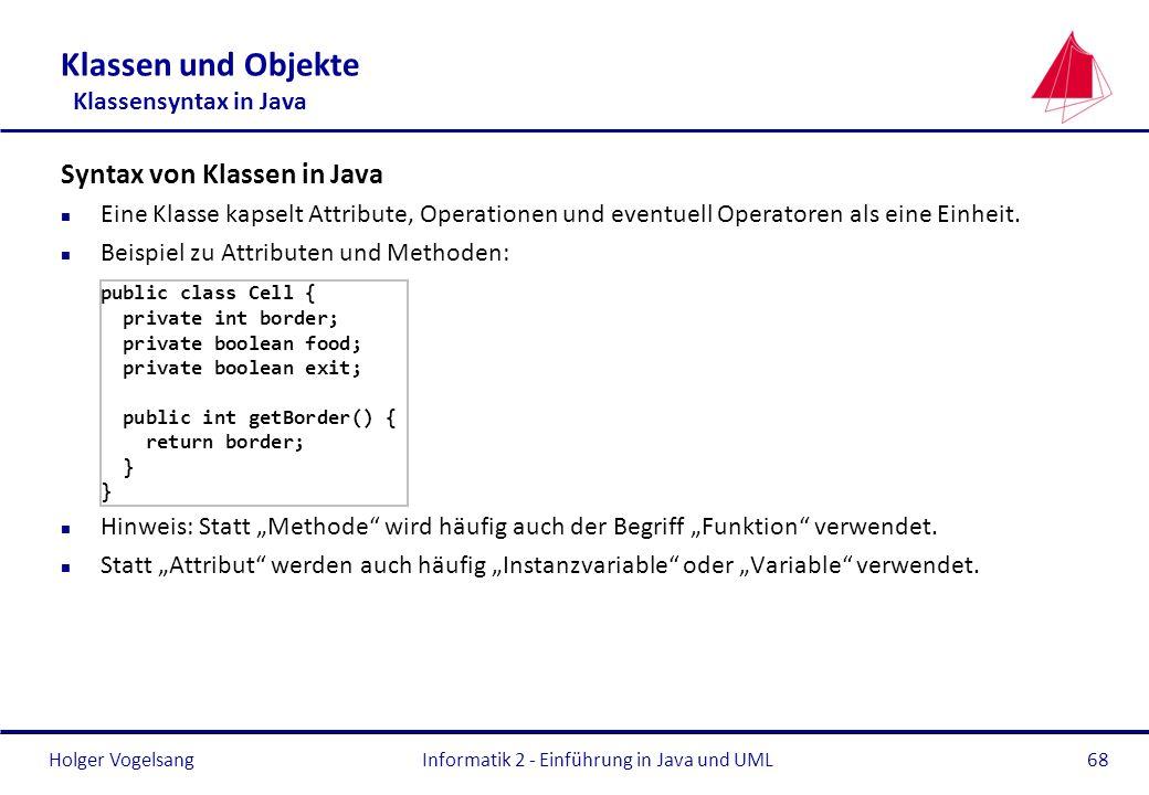 Klassen und Objekte Klassensyntax in Java