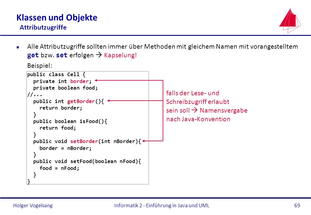 Klassen und Objekte Attributzugriffe