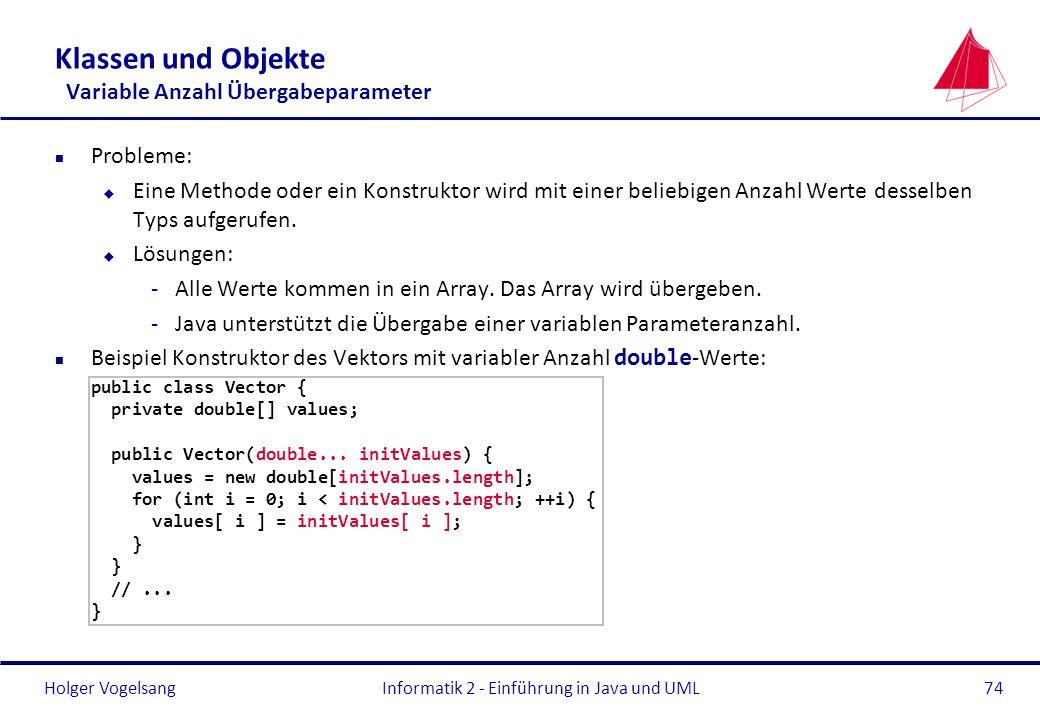 Klassen und Objekte Variable Anzahl Übergabeparameter
