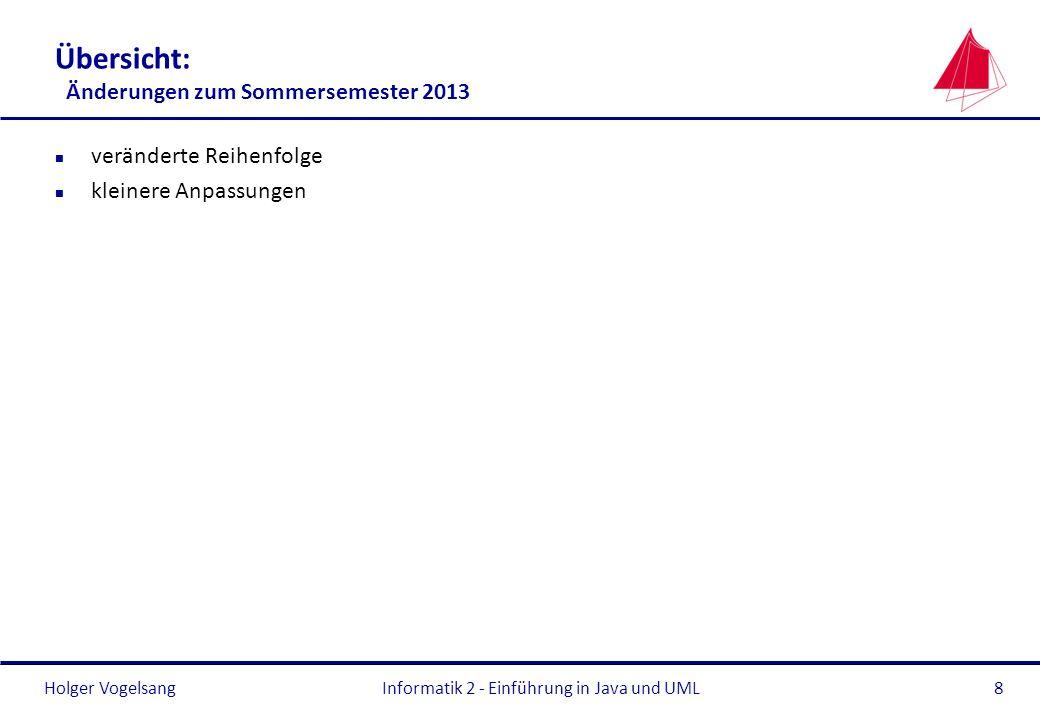 Übersicht: Änderungen zum Sommersemester 2013