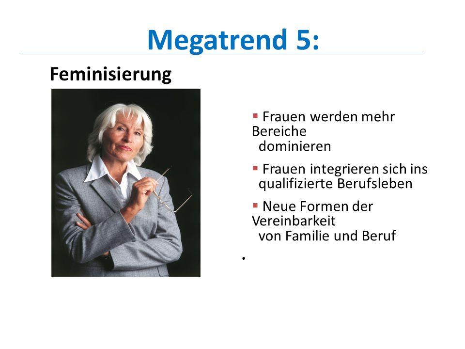 Megatrend 5: Feminisierung Frauen werden mehr Bereiche dominieren