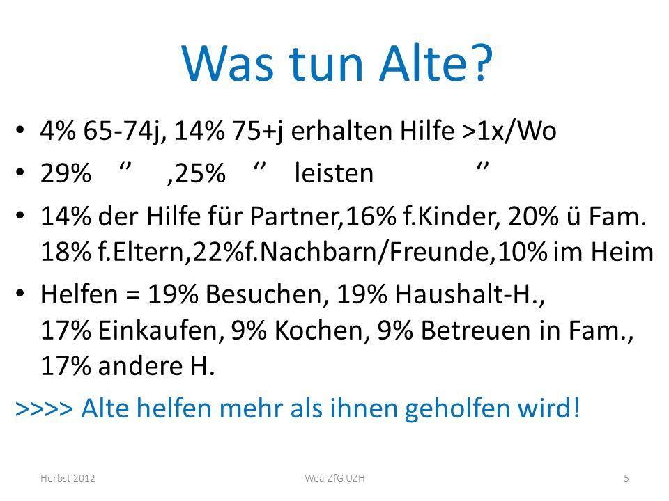 Was tun Alte 4% 65-74j, 14% 75+j erhalten Hilfe >1x/Wo