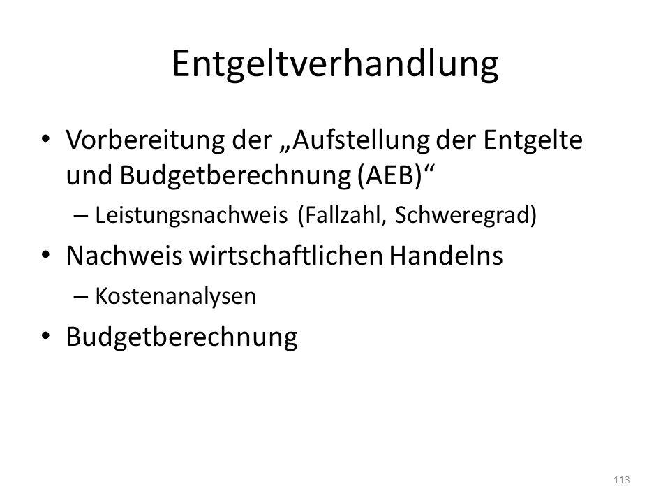 """Entgeltverhandlung Vorbereitung der """"Aufstellung der Entgelte und Budgetberechnung (AEB) Leistungsnachweis (Fallzahl, Schweregrad)"""