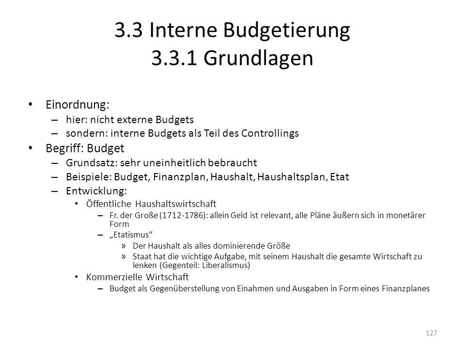 3.3 Interne Budgetierung 3.3.1 Grundlagen