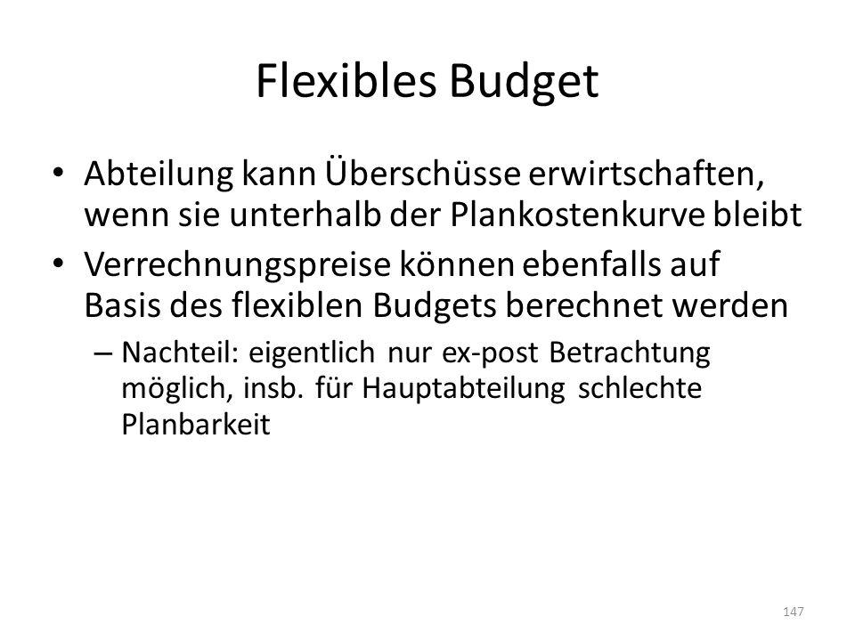 Flexibles Budget Abteilung kann Überschüsse erwirtschaften, wenn sie unterhalb der Plankostenkurve bleibt.