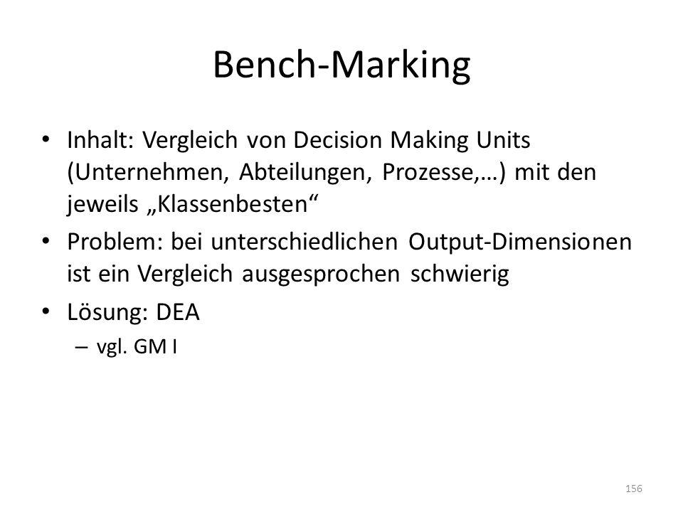 """Bench-Marking Inhalt: Vergleich von Decision Making Units (Unternehmen, Abteilungen, Prozesse,…) mit den jeweils """"Klassenbesten"""