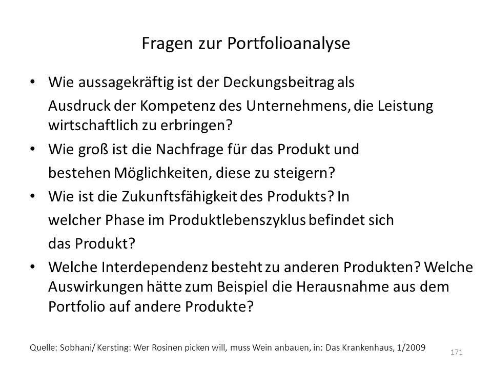 Fragen zur Portfolioanalyse