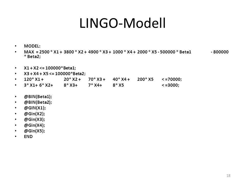 LINGO-Modell MODEL: MAX = 2500 * X1 + 3800 * X2 + 4900 * X3 + 1000 * X4 + 2000 * X5 - 500000 * Beta1 - 800000 * Beta2;