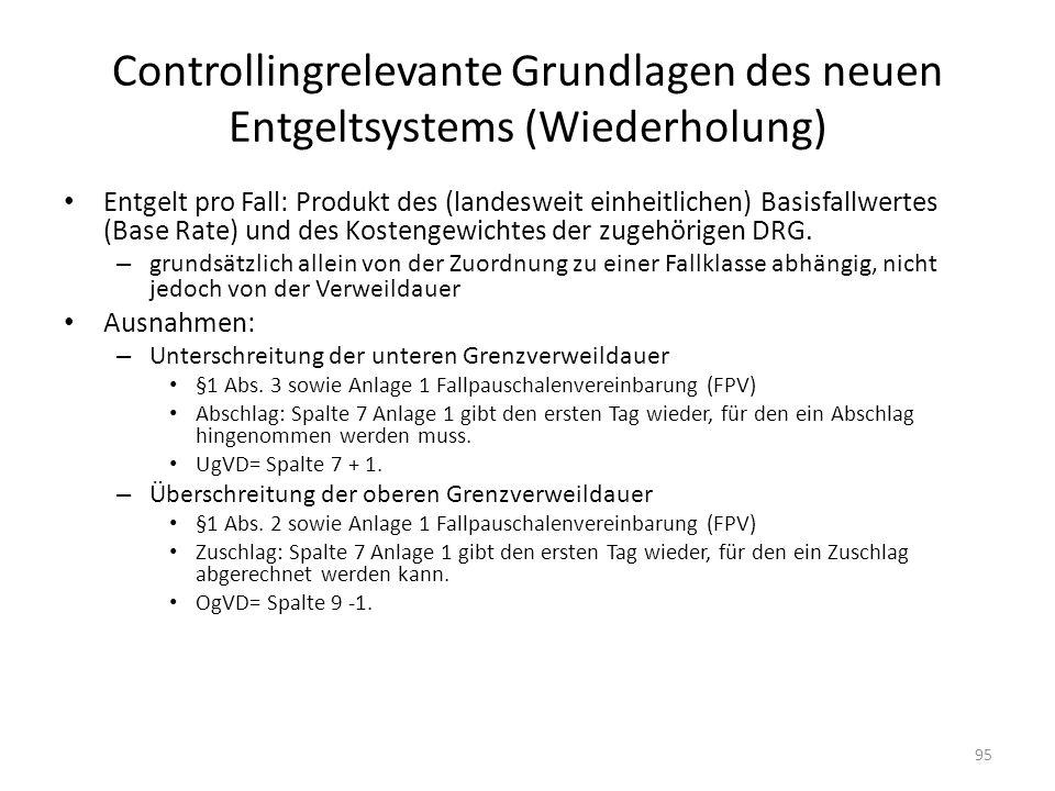 Controllingrelevante Grundlagen des neuen Entgeltsystems (Wiederholung)