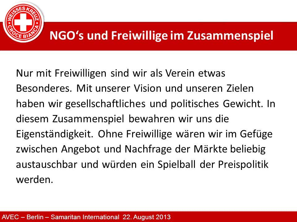 NGO's und Freiwillige im Zusammenspiel