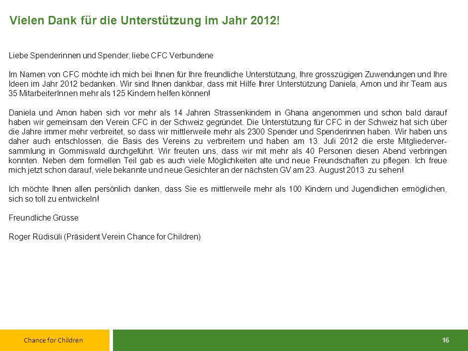 Vielen Dank für die Unterstützung im Jahr 2012!
