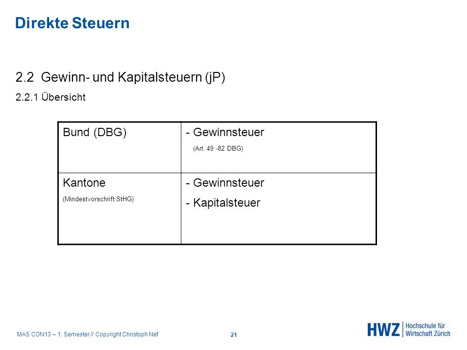 Direkte Steuern 2.2 Gewinn- und Kapitalsteuern (jP) Bund (DBG)
