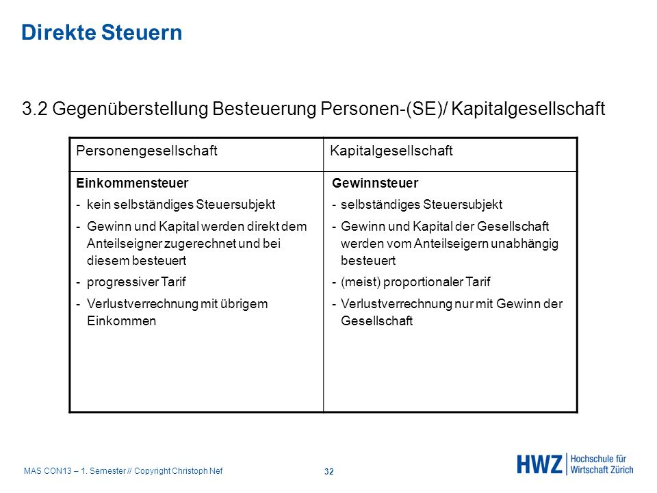 Direkte Steuern 3.2 Gegenüberstellung Besteuerung Personen-(SE)/ Kapitalgesellschaft. Personengesellschaft.