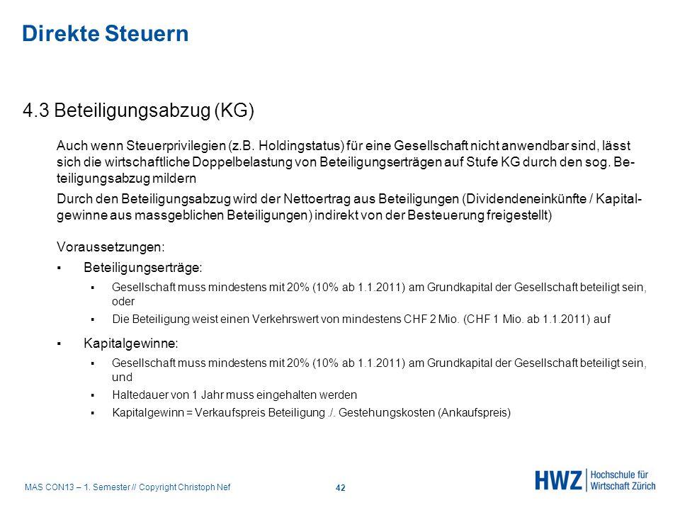 Direkte Steuern 4.3 Beteiligungsabzug (KG)