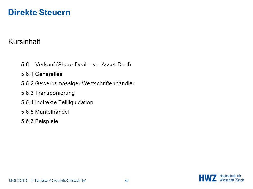 Direkte Steuern Kursinhalt 5.6 Verkauf (Share-Deal – vs. Asset-Deal)