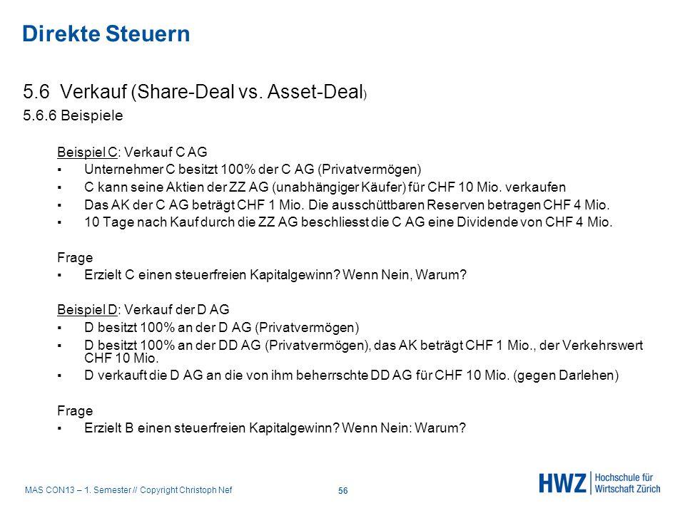 Direkte Steuern 5.6 Verkauf (Share-Deal vs. Asset-Deal)
