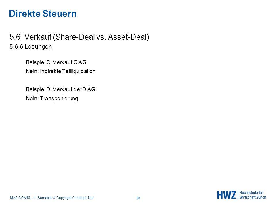 Direkte Steuern 5.6 Verkauf (Share-Deal vs. Asset-Deal) 5.6.6 Lösungen