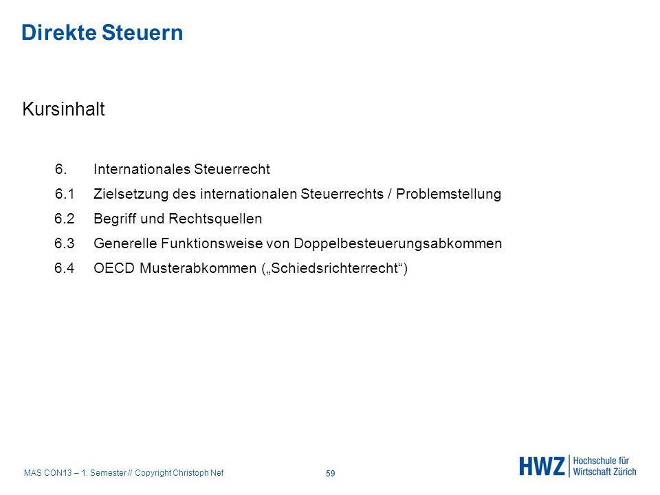 Direkte Steuern Kursinhalt 6. Internationales Steuerrecht