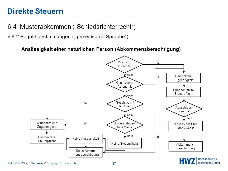 """Direkte Steuern 6.4 Musterabkommen (""""Schiedsrichterrecht )"""