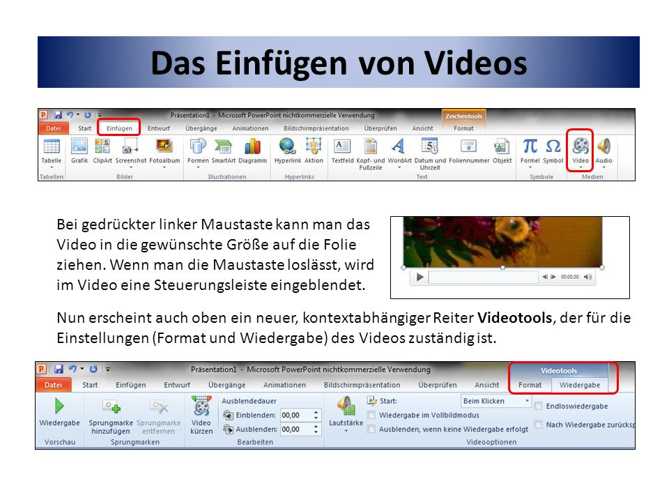 Das Einfügen von Videos