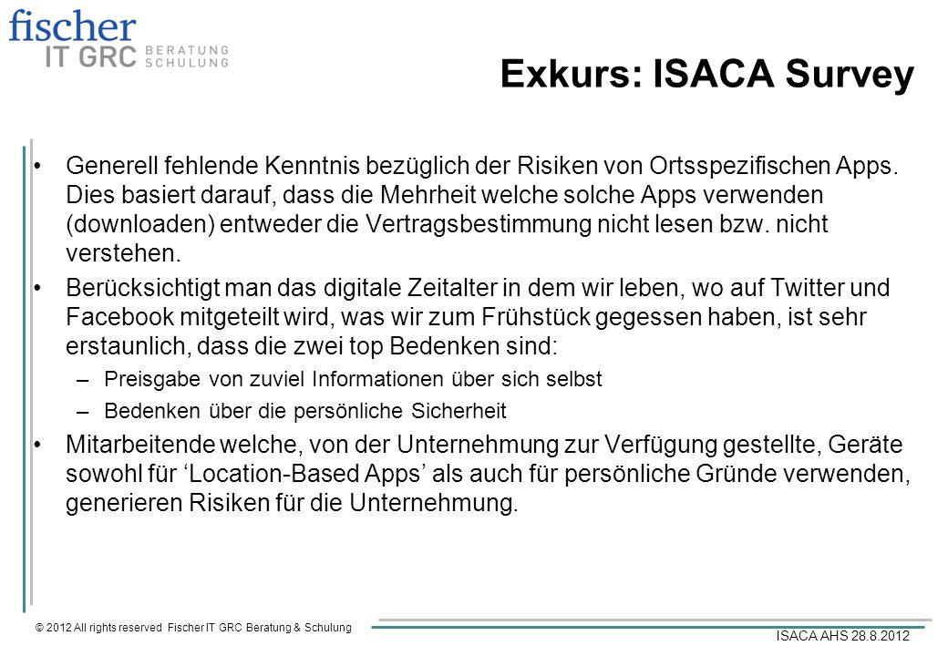 Exkurs: ISACA Survey